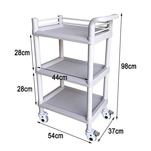 HTL Carrito de servir, estante de almacenamiento, herramienta de carrito médico de 3 niveles con asa y rueda universal, carrito de balneario para peluquería, 54 x 37 x 98 cm