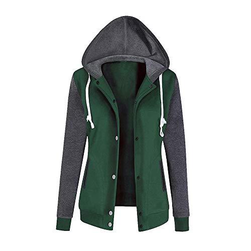 Subfamily-Pullover Jacke Damen Sweatjacke Hoodie Sweatshirt Pullover Oberteile Kapuzenpullover V Ausschnitt Patchwork Pulli mit Kordel und Zip