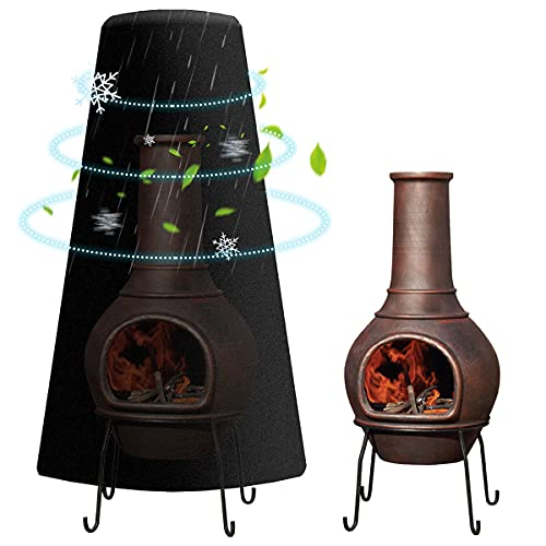 UPXNBOR Clay Chiminea Cover Black Waterproof Outdoor Patio Chiminea Covers...