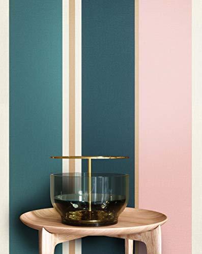NEWROOM Tapete grau Vliestapete rosa schöne moderne und edle Design Optik, inklusive Tapezier Ratgeber