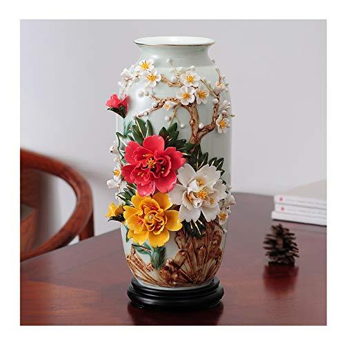 Hong Yi Fei-Shop Jarrones Jingdezhen jarrón Flor Tridimensional Cerámica Handicraft Jarrón Decoración del hogar Sala de Estar Cabineta TV Gabinete de Vino Decoración Jarrón florero