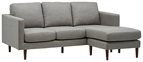 """Amazon Brand – Rivet Revolve Modern Upholstered Sofa with Reversible Sectional Chaise, 80""""W, Grey Weave"""