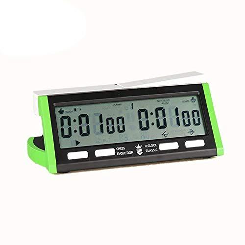 Temporizador de ajedrez Reloj multifunción Reloj Reloj de ajedrez, Temporizador de ajedrez digital con función de alarma para ajedrez chino (color: verde, tamaño: 181x95x59mm) Reloj despertador