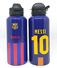 Officially licenesd from Barcelona in the EU 400ml aluminium drinks bottle- great for kids Closable drinking spout - 2 sided Barcelona crest on one side Messi 10 on the other Quality Guaranteed Brand new with tags