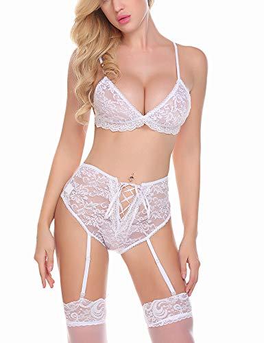 Avidlove Damen Sexy Dessous Spitze Babydoll Bodysuit Strumpfgürtel Set - Weiß - Klein