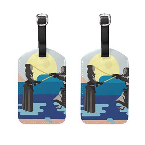 2 etiquetas japonesas de equipaje Kendo etiquetas de viaje para tarjetas de nombre para equipaje, maleta, mochilas