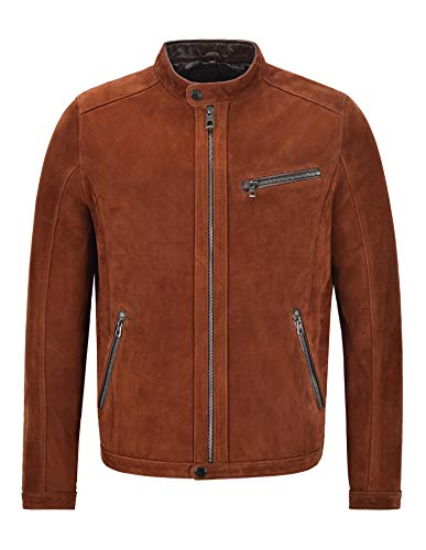 Cafe Racer Chaqueta de Cuero para Hombre Premium Biker Soft Italian Nubuck Leather Jacket 469