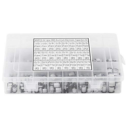 Elektrolytkondensator, 400 Stück 24 Werte SMD - Elektrolytkondensator Sortimentkasten Kit 1uF - 1000uF für TV Monitor Netzteile und PCs