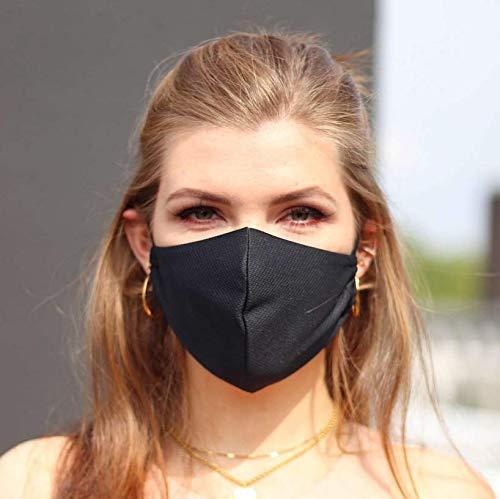 NIMBIM Behelfsmaske, Maske mit antibakterielle Silberfasern, waschbare Damen Herren und Kindermaske, atmungsaktive Behelfsmaske, Maske in schwarz