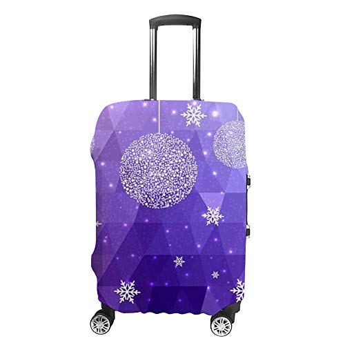 Ruchen - Copertura protettiva per valigia con motivo natalizio, poligono, fiocchi di neve, per bagagli