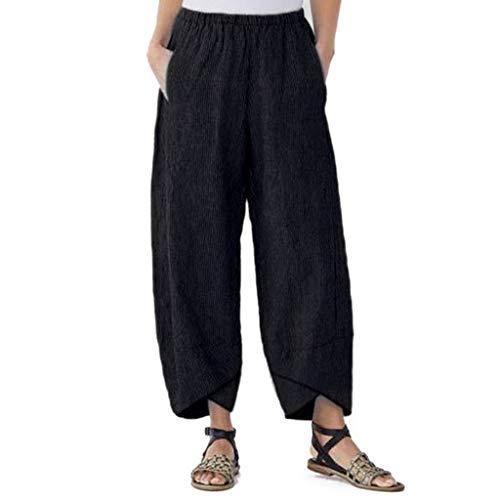 RISTHY Pantalones de Lino Damas Bloomers el Harem Pantalones del Verano de los Pantalones de Harén Pantalones Anchos de Pierna Anchas Holgados Casual Playa