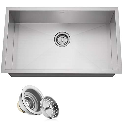 "Miligore 30"" x 18"" x 9"" Deep Single Bowl Undermount Zero Radius Stainless Steel Kitchen Sink - Includes Drain"