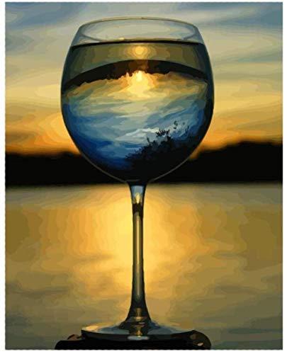 Diy Malen Nach Zahlen Kit Leinwand Ölgemälde Set Erwachsene Anfänger Mit Pinsel Und Acrylpigment Für Kinder Erwachsene Home Dekorieren Sonnenuntergang Weinglas 40X50Cm