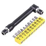 Llave doble en forma de L, llave Allen de 1/4 de pulgada, negra con 10 piezas de destornillador...