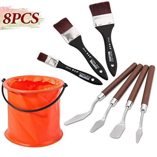 B07Z3GRTYPYangbaga Malmesser Spachtel Flachpinsel Malset 8 stück Pinsel waschen Eimer Künstler Set für acryl und Öl Farbe Schaber Edelstahl