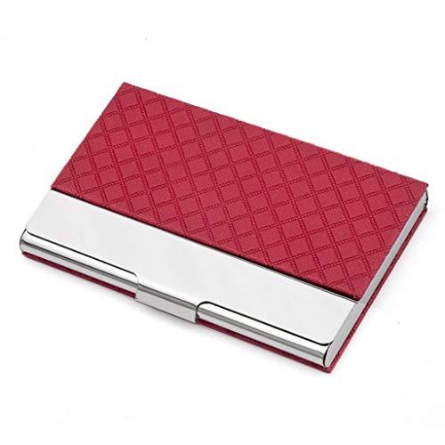 Qazxsw Tarjetero/Titular de la Tarjeta patrón de la Moda de Diamantes para Hombres y Mujeres/Metal Creativo de Negocio de Gran Capacidad Titular de la Tarjeta de Visita,Rojo,9.3 * 6.4 * 0.9cm
