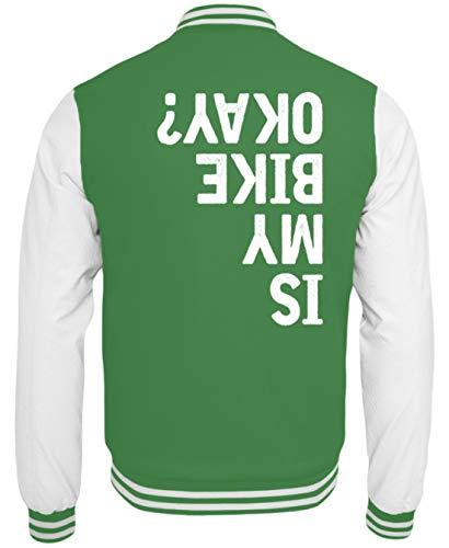 Shirtee Is My Bike Okay? Is My Bike Ok? Bicicletta Andare in Bicicletta Ciclista Ciclisti Regalo - Giacca Sudore College -XL-Kelly Verde-Verde-Bianco