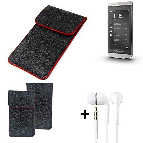 K-S-Trade® Handy Schutz Hülle Für BlackBerry Porsche Design P9982 Schutzhülle Handyhülle Filztasche Pouch Tasche Case Sleeve Filzhülle Dunkelgrau Roter Rand + Kopfhörer