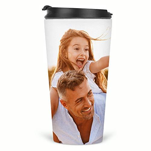 Thermobecher, personalisierbar, Foto-Geschenk, Thermobecher für Kaffee, Tee, Reisen, permanent bedruckt