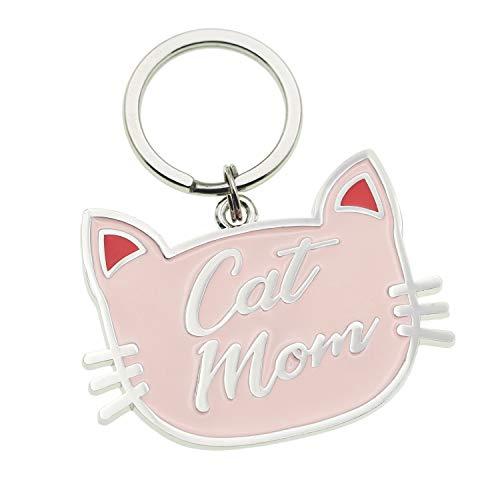 Melix Home - Llavero con gato rosa y gato, mamá, regalo divertido para amantes de los gatos, regalos para mujeres Medium