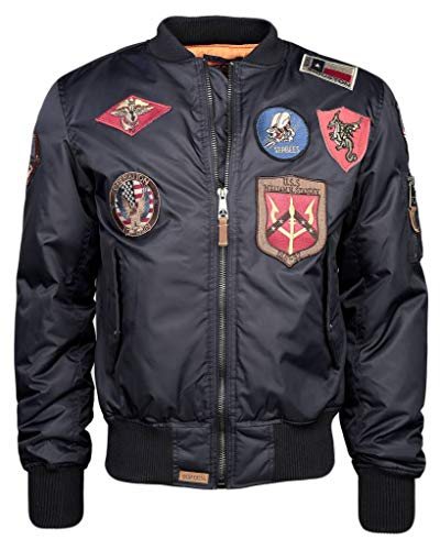 Top Gun Herren Bomberjacke Im Pilotenstil Mit Patches Tg2019-1053 Tgj1540p Navy,m