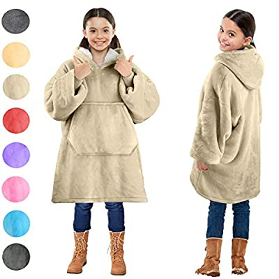 Blanket Sweatshirt, Super Soft Warm Cozy Wearable Sherpa Hoodie for Teens, Boys, Girls, Youth, Kids (7-15yr), Oversize, Reversible, Hood & Large Pocket, One Size, Latte