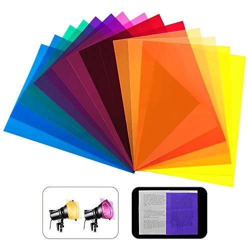 DECARETA 14 StückFarbfolien Gel Farbfilter Filter Transparente Farbige Farbfilm Folie für Foto Studio Strobe Blitz LED Licht Scheinwerfer