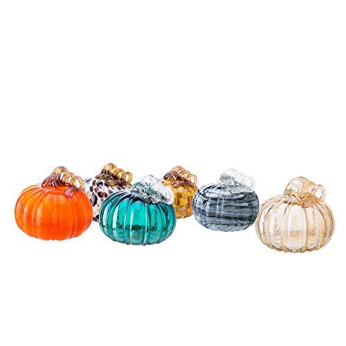 "Diamond Star 1pc Random Color Hand-Blown Glass Pumpkin with Stem for Halloween Thanksgiving Fall Harvest Hard Figure Table Top Home Décor ( Big, H 5.5"" X D 5.5"" )"