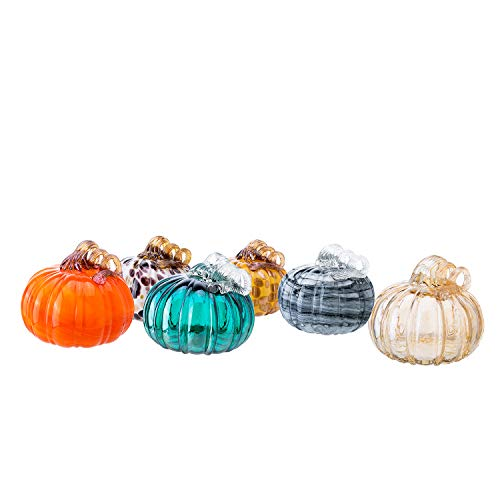 "Diamond Star 1pc Random Color Hand-Blown Glass Pumpkin with Stem for Halloween Thanksgiving Fall Harvest Hard Figure Table Top Home Décor ( Big, H 5.5"" X D 5.5"" )"