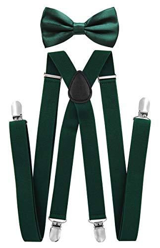 axy Herren Hosenträger mit Fliege - 4 Starken Clips X-Form (Grün (Hosenträger Breit 2,5cm))