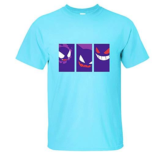 Nikea Herren Comic Stil Tees Unisex Drucken T-Shirt Frauen Anime Kurzarm Film Denkmal Kurzes Shirt Cosplay kurzärmelig Pokeball Tops zum Jungen Grils Kinder,2,L