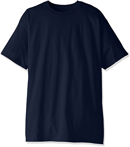 Hanes Men's Size Short-Sleeve Beefy T-Shirt (Pack of Two), Navy, Large/Tall