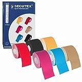 SECUTEX Kinesiologie Tape | 6er Set Starkes Physiotape | 5m x 5cm | Hautfreundliches und Atmungsaktives Sporttape | High End Wasserresistent Medizinisches Tape