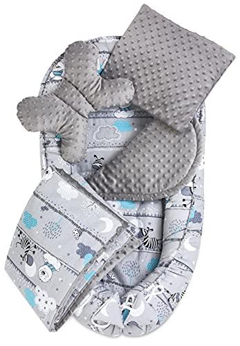 JUKKI® Babynest Comfort MINKY   Baby Nestchen 5 teiliges Set, Kissen, Decke, Matratze   Babynestchen Neugeborene   Kuschelnest für Babybett   Babycare Bettchen - Zebras