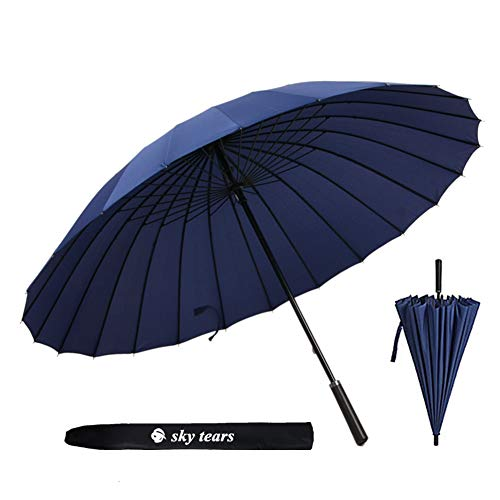 Paraguas Caballero Grande Clásico Antiviento 24 Varillas Reforzadas Paraguas de Golf Grande SKY TEARS (A Azul Oscuro)