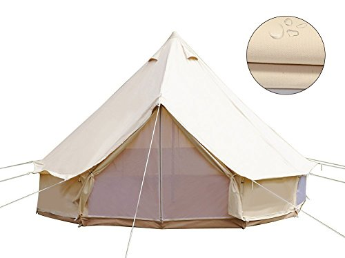 TentHome 4-Season Cotton Bell Tent Waterproof Glamping Tent Outdoor Family Luxury Camping Tent with Zipped Groundsheet, Mesh Door (Diameter 3M)