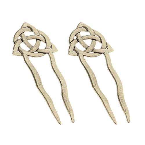 IPOTCH Vintage Haarnadel Bronze, Haargabel, Keltische Knoten Haarstab, Haarnadeln, Haarschmuck, Hairpin, Hair Stick