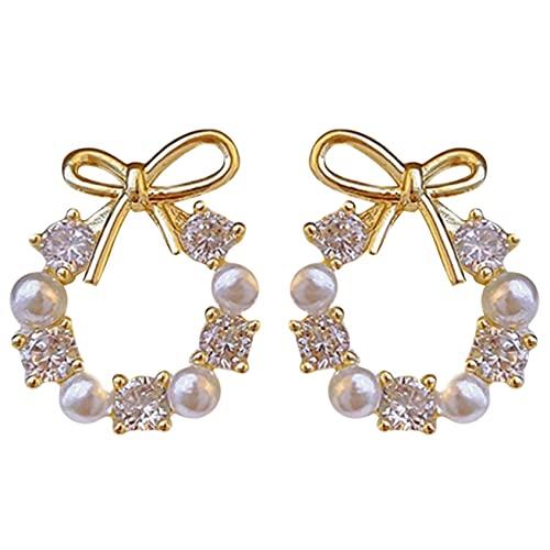 SMEJS Pendientes de perlas de oro blanco con forma de corona Pendientes de lazo para niñas Pendientes de cristal con diamantes de imitación para mujeres Adorno de oreja Joyería elegante Pendiente