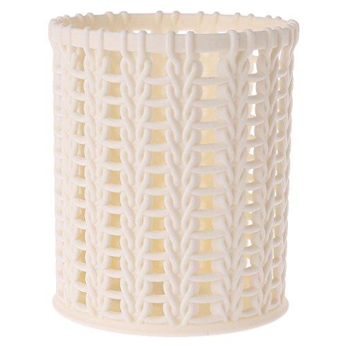 Milue Plastique rotin de Stockage de Bureau Panier Accueil Bureau Organisateur cosmétique Table Box Blanc.