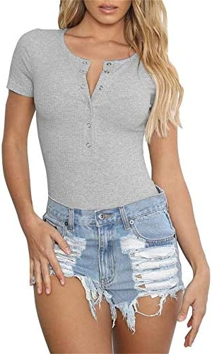 GEMBERA Women Short Sleeves Henley Neck Button Down Bodysuit Ribbed Knit Thong Basic Leotard product image