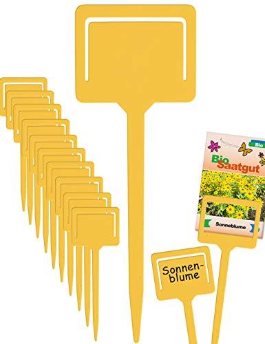 HomeTools.eu® - 10 Pflanz-Schilder, Steck-Etiketten, Pflanzen-Stecker, Kräuter-Beet, Gewächs-Haus, Beschriftung, Kunststoff beschreibbar, mit Klemme für Saatgut-Beutel, Wetter-fest, 18cm, gelb