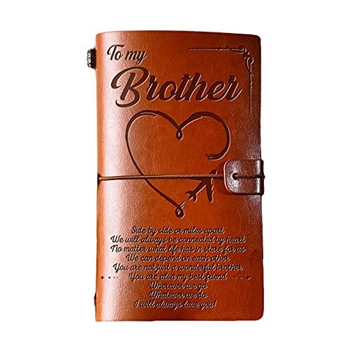 ShiftX4 Elegante diario hecho a mano de cuero grabado diario diario diario de notas de mensaje para mi hija/para mi esposa