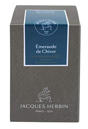 J.Herbin 15035JT Jubiläums- Tintenflakon 1670 (50 ml, für Federhalter, farbintensiv) grün