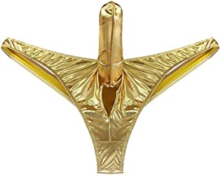 Special Use Men's Lingerie Bikini Briefs with Hole Closed Underwear Underpants Panties (Color : Gold, Size : XL)