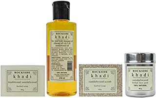 Rockside Khadi Sandalwood Body Care Collection (Bath Soap, Scrub Soap, Body Oil and Face Pack)