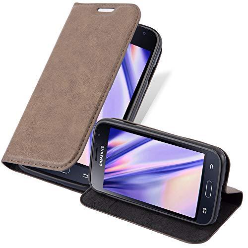 Cadorabo Funda Libro para Samsung Galaxy J1 Mini 2016 en MARRÓN CAFÉ - Cubierta Proteccíon con Cierre Magnético, Tarjetero y Función de Suporte - Etui Case Cover Carcasa