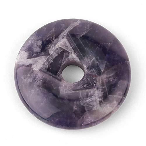 JINAN 1 pieza de color aleatorio natural de lapislázuli morado natural accesorio de joyería y hebilla plana para hacer collares sueltos (color: amatista).