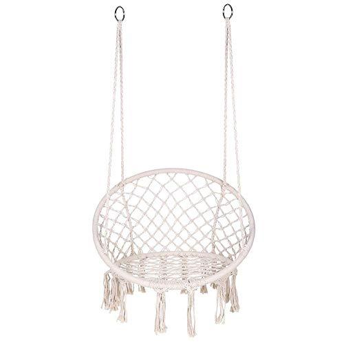 Lindaeshop Hamaca tejida para colgar al aire libre para interiores y exteriores, silla colgante para niños y adultos, cuerda de algodón, color beige, barra de madera, asiento grande, 80 x 60 x 120 cm