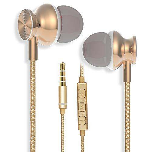 YCKJ-Kopfhörer, In-Ear-Kopfhörer mit Mikrofon und Fernbedienung für iPhone, iPad, iPod, MP3, Samsung, Huawei, Tablets und mehr (Golden)