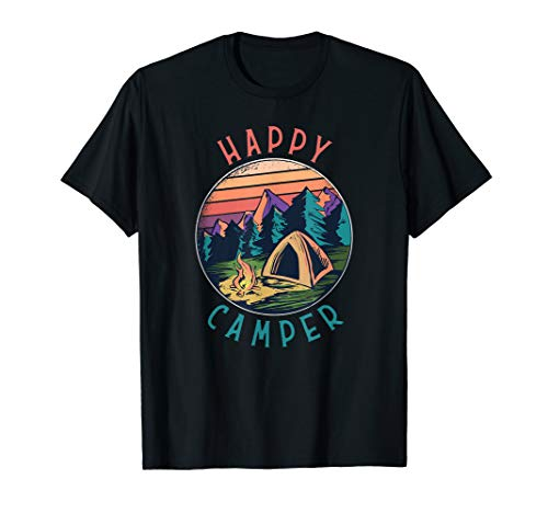 Happy Camper Camping Lagerfeuer Natur Zelt T-Shirt
